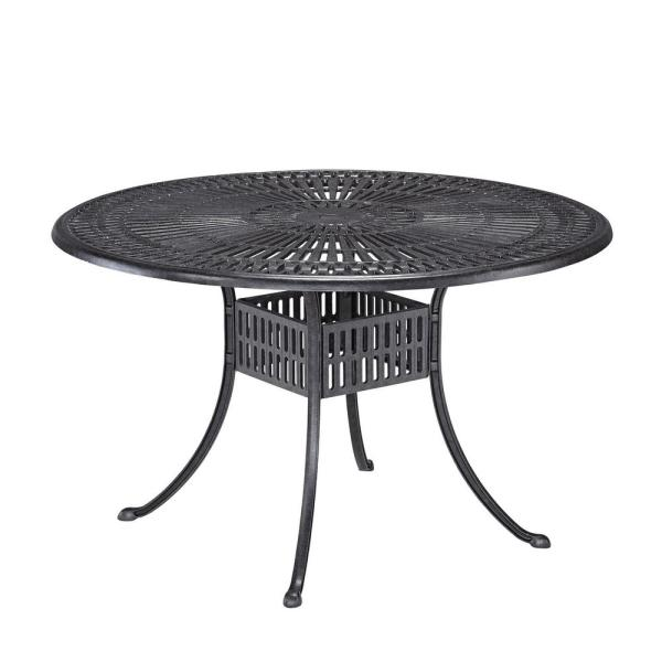 Grenada Charcoal Gray 48 in. Round Cast Aluminum Outdoor Dining Table