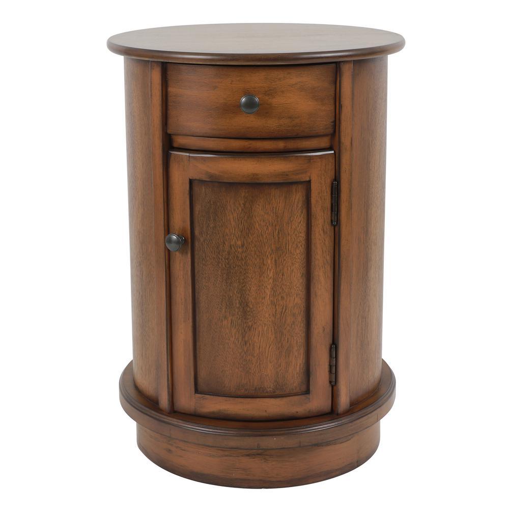 Keaton Honeynut Brown Round Storage Side Table