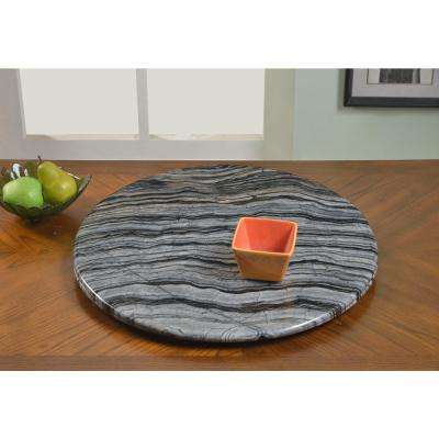 24 in. Gray Lazy Susan Marble