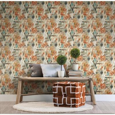 28.18 sq. ft. Orange Aztec Peel and Stick Wallpaper
