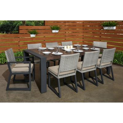 Milo Grey 9-Piece Wicker Outdoor Dining Set with Slate Grey Cushions