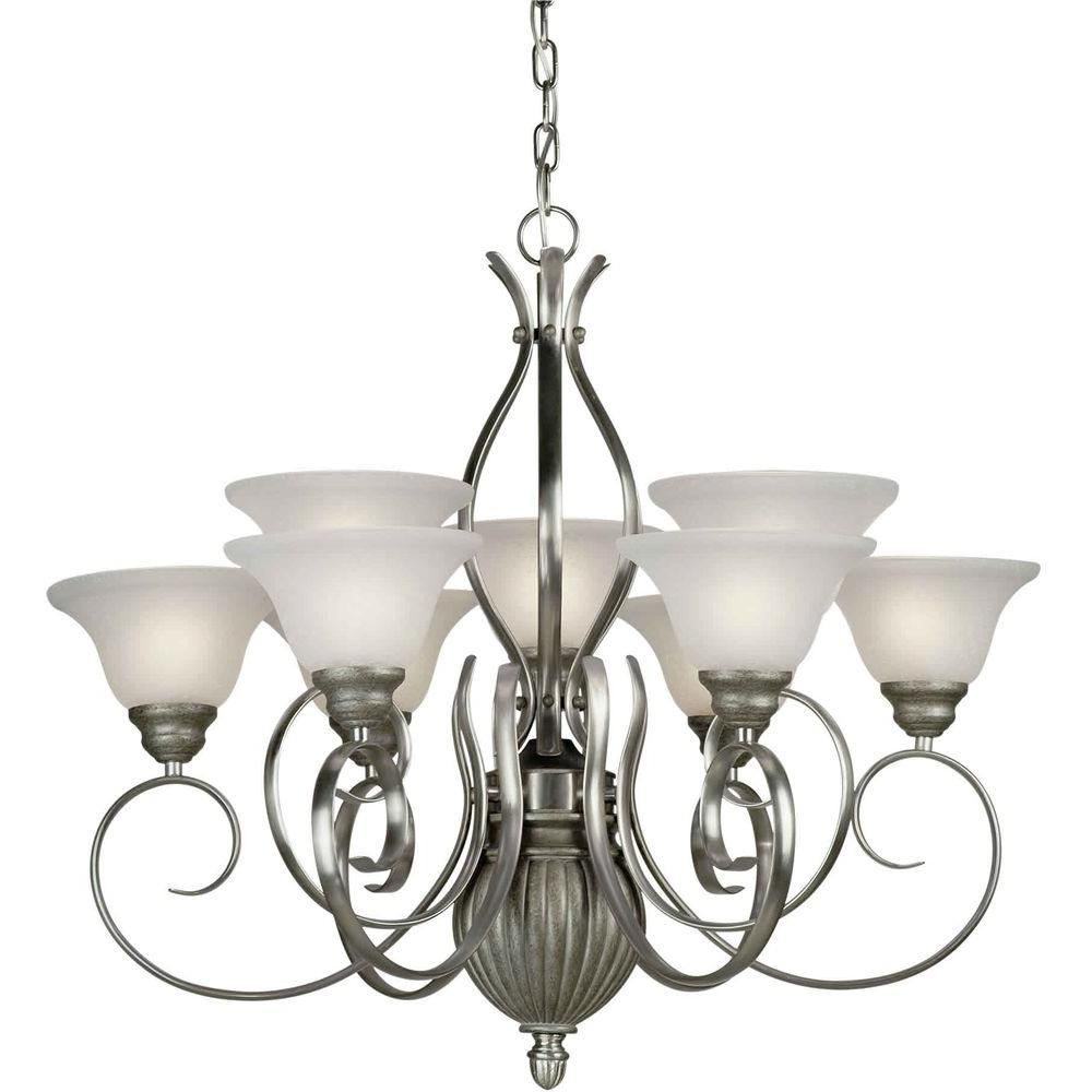 Forte Lighting 9 Light Chandelier Brushed Nickel/River Rock Finish White Linen Glass-DISCONTINUED