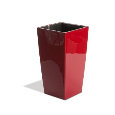 Modena 30 in. Glossy Red Taper Square Planter Self-Watering