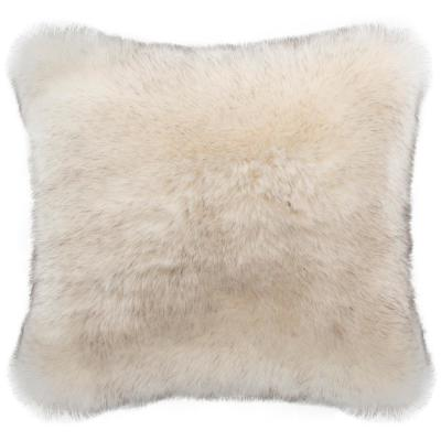 Coco Taupe Solid Faux Fur Down Alternative 20 in. x 20 in. Throw Pillow