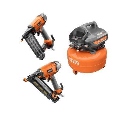 6 Gal. Pancake Compressor with (1) 18-Gauge 2-1/8 in. Brad Nailer and (1) 15-Gauge 2-1/2 in. Angle Finish Nailer