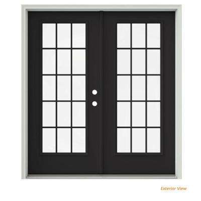 72 in. x 80 in. Chestnut Bronze Painted Steel Left-Hand Inswing 15 Lite Glass Active/Stationary Patio Door