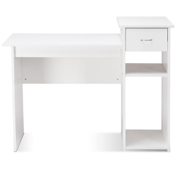 20 in. Rectangular White 1-Drawer Computer Desk PC Laptop Table Writing Desk with Solid Wood Material