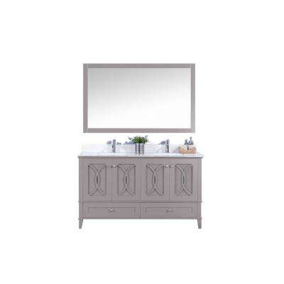 60 in. W x 22 in. D Vanity in Dark Gray with Tempered Glass Vanity Top and Mirror