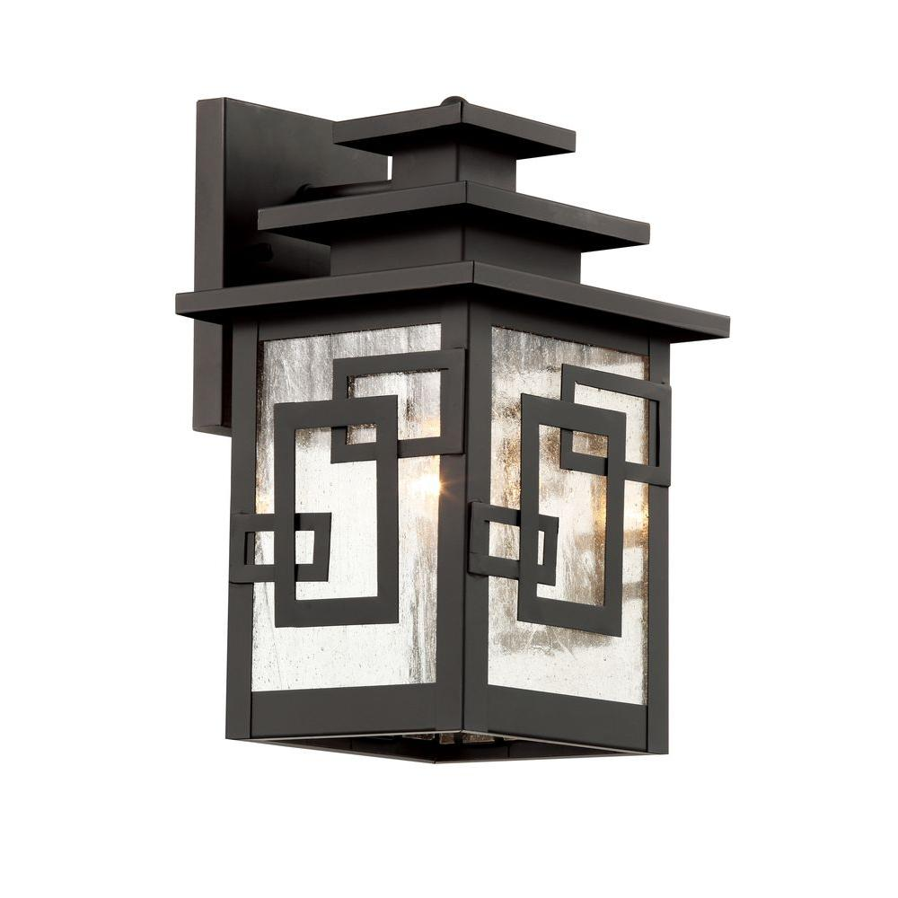 Bel Air Lighting Weathered Bronze Wall Lantern with Seeded Window Frames