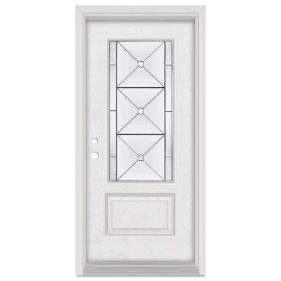 36 in. x 80 in. Bellochio Right-Hand Patina Finished Fiberglass Oak Woodgrain Prehung Front Door Brickmould