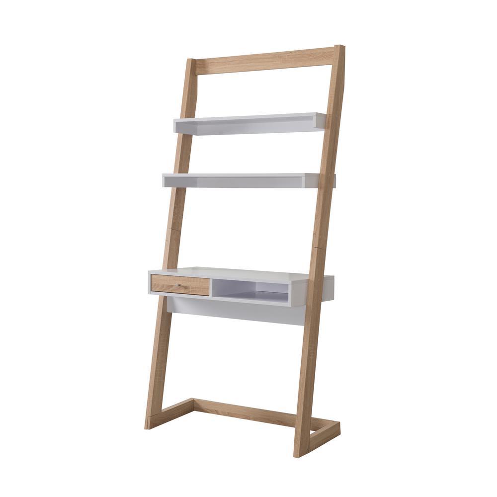 34 in. Rectangular Beige with Shelf 1-Drawer Ladder Desk