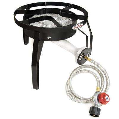 200,000 BTU High Pressure Propane Burner Outdoor Cooker Turkey Fryer with Steel Braided Hose Square Frame