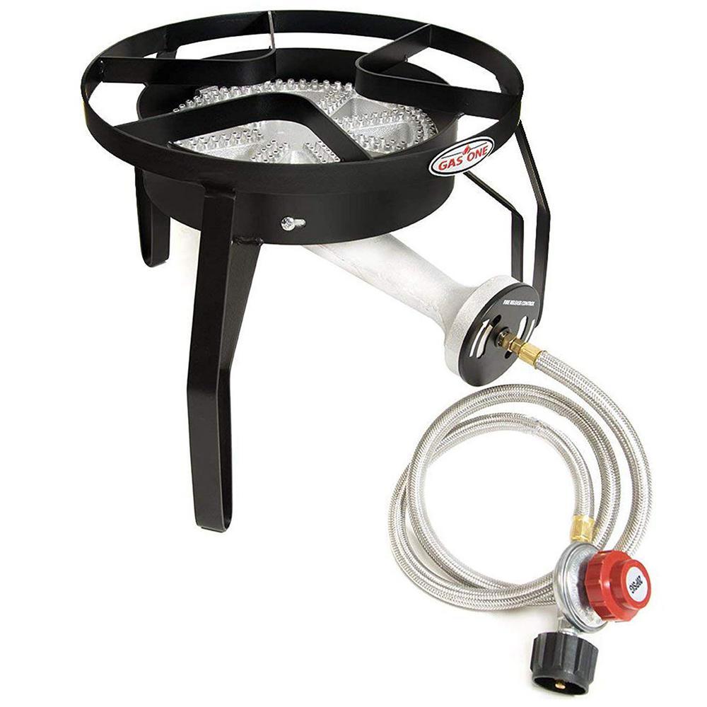 200,000 BTU High Pressure Propane Burner Outdoor Cooker Turkey Fryer with Steel Braided Hose Square Frame