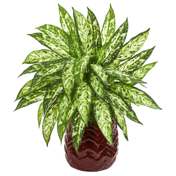 Nearly Natural 22 in. Indoor Aglaonema Artificial Plant in Red Designer