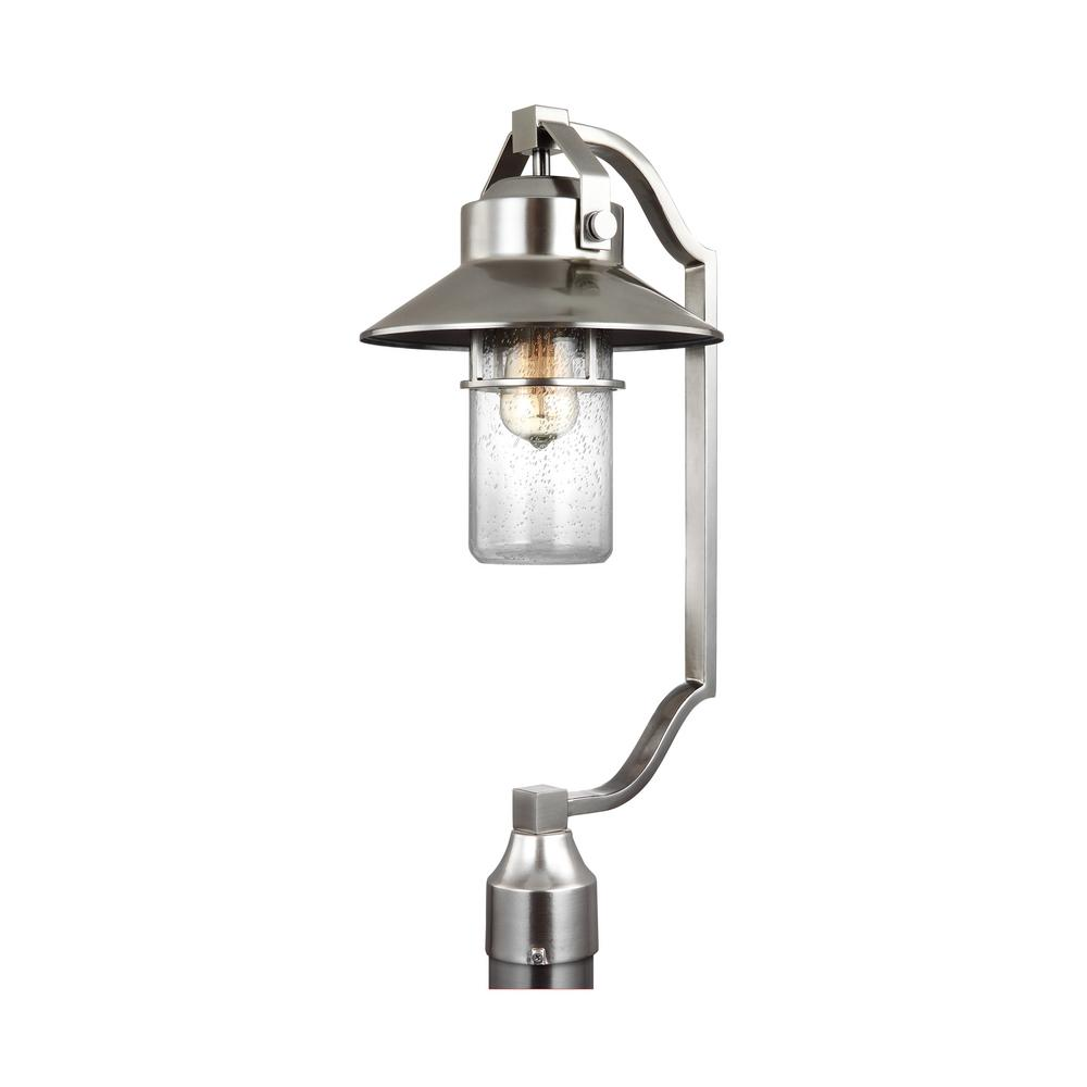Post and lamp sets post lighting outdoor lighting the home depot boynton 1 light outdoor painted brushed steel lamp post arubaitofo Choice Image