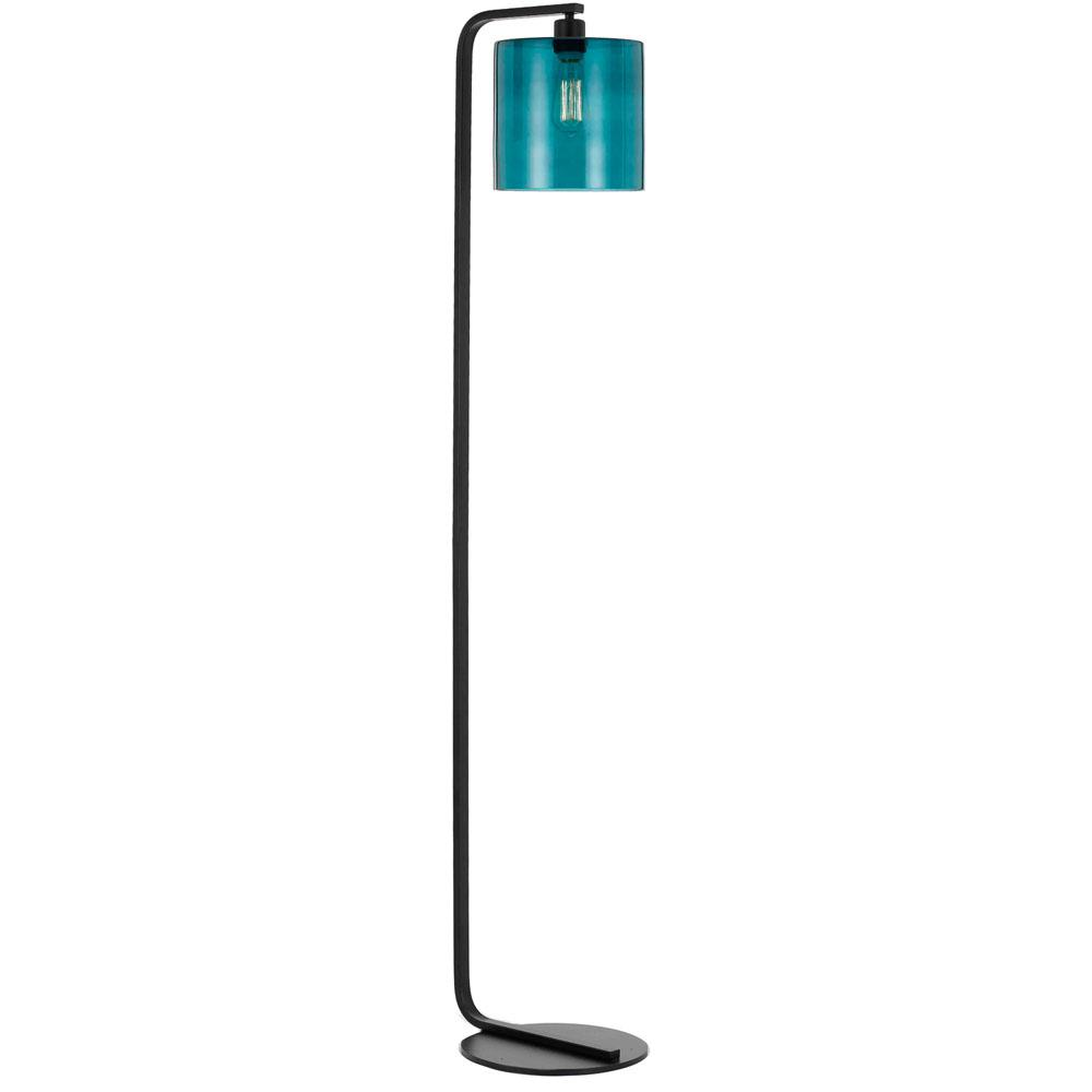 Lowell 60.5 in. Black Floor Lamp with Teal Glass Globe