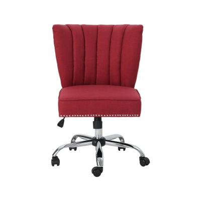 Booker Contemporary Scalloped Back Red Fabric Home Office Chair with Stud Accents