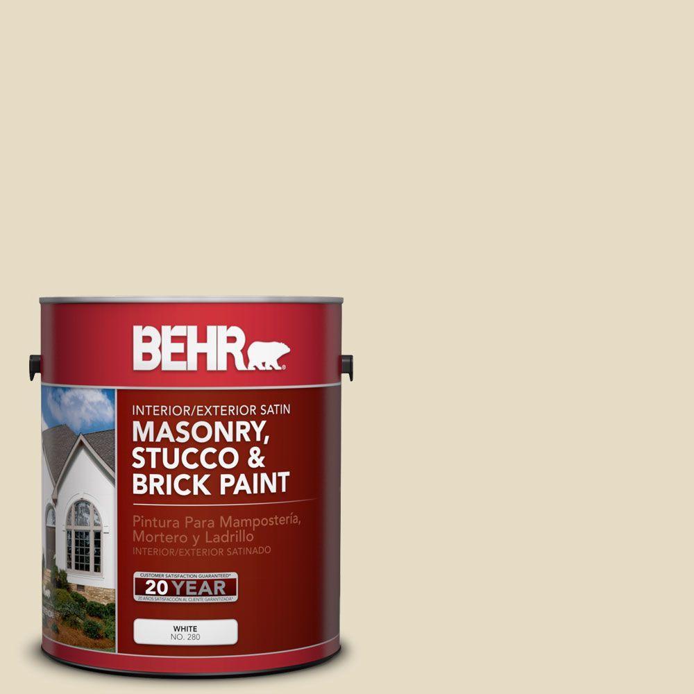 1 gal. #MS-40 Navajo White Satin Interior/Exterior Masonry, Stucco and Brick Paint