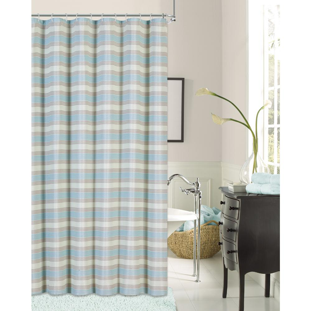 Dainty Home Blended Silk 72 in. Seafoam Green Stripe Fabric Shower ...