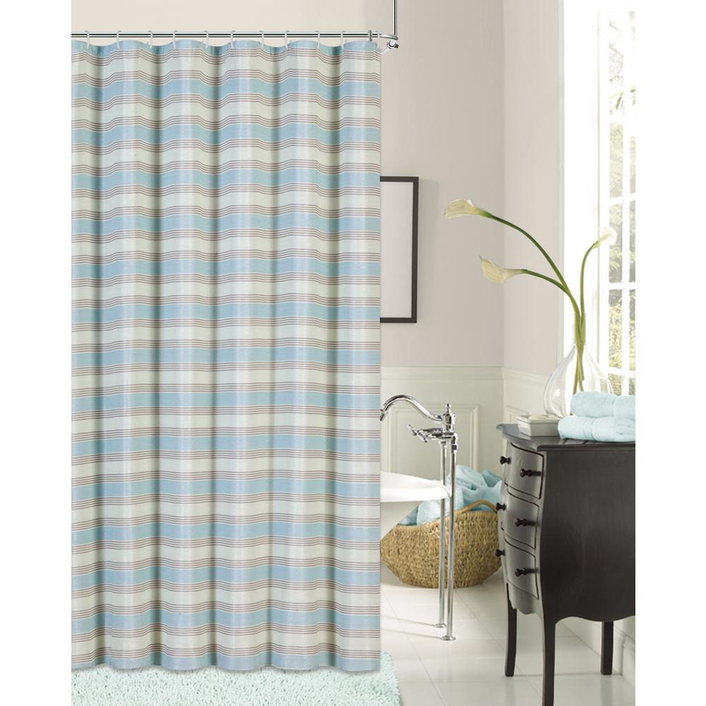 Blended Silk 72 in. Seafoam Green Stripe Fabric Shower Curtain