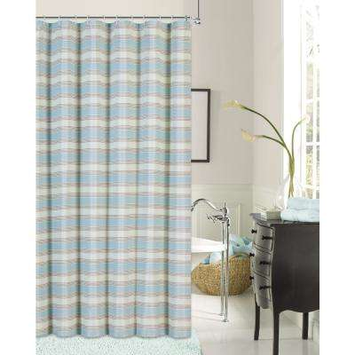 Blended Silk 72 in. Seafoam Green Stripe Fabric Shower Curtain