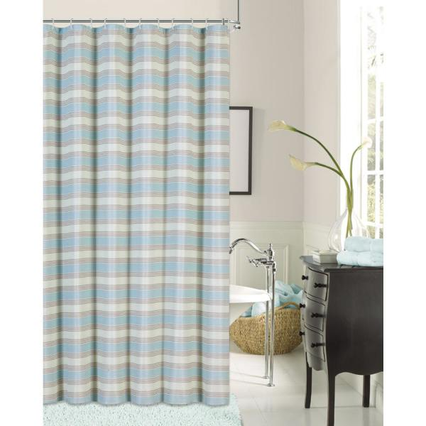 Dainty Home Blended Silk 72 in. Seafoam Green Stripe Fabric Shower