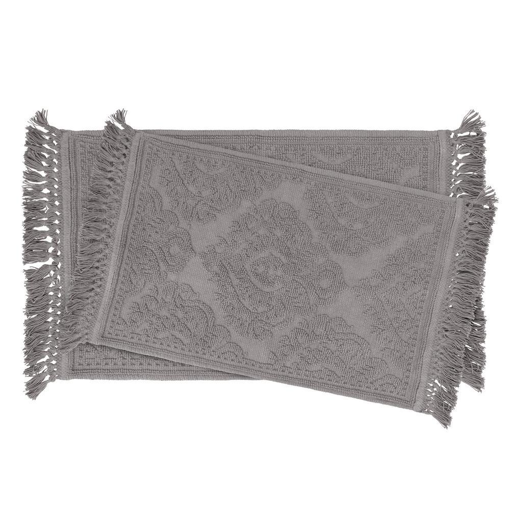 Ricardo Cotton Fringe 17 in. x 24 in./21 in. x 34 in. 2-Piece Bath Rug Set in Dark Grey