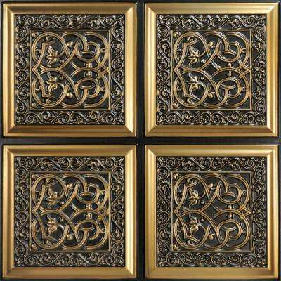 Lover's Knot 2 ft. x 2 ft. PVC Glue-up Ceiling Tile in Antique Gold