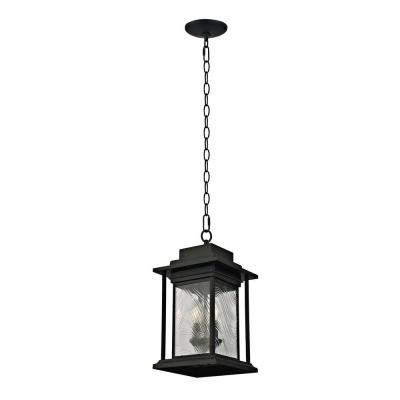 2-Light Transitional Outdoor Pendant with Watered Glass, Dark Bronze