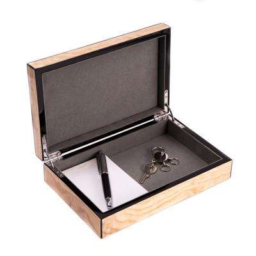9.75 in. D x 2.25 in. H x 6.25 in. W Wood Jewelry Case in Olive Ash Burl
