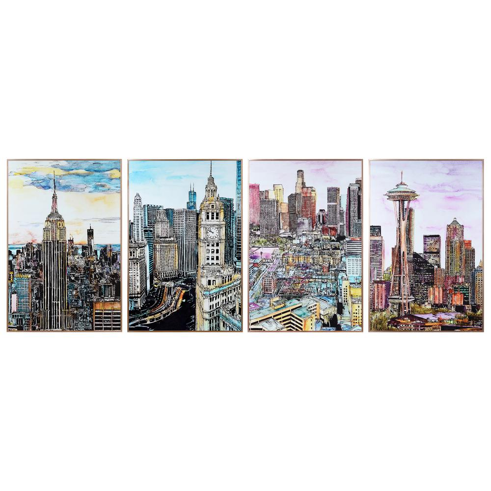 ''City Views'' 4-Pieces Included Framed with Anodized Aluminum Rose Gold Frame Glass Wall Art Print 36 in. x 24 in. Each