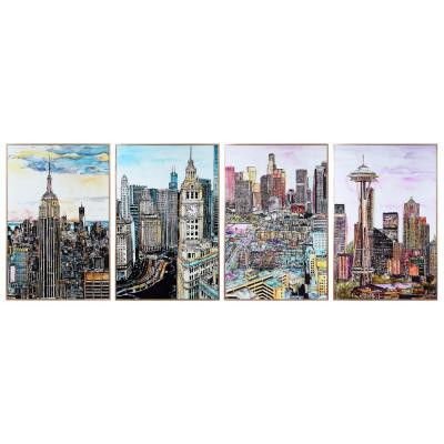 """""""City Views"""" 4-Pieces Included Framed with Anodized Aluminum Rose Gold Frame Glass Wall Art Print 36 in. x 24 in. Each"""
