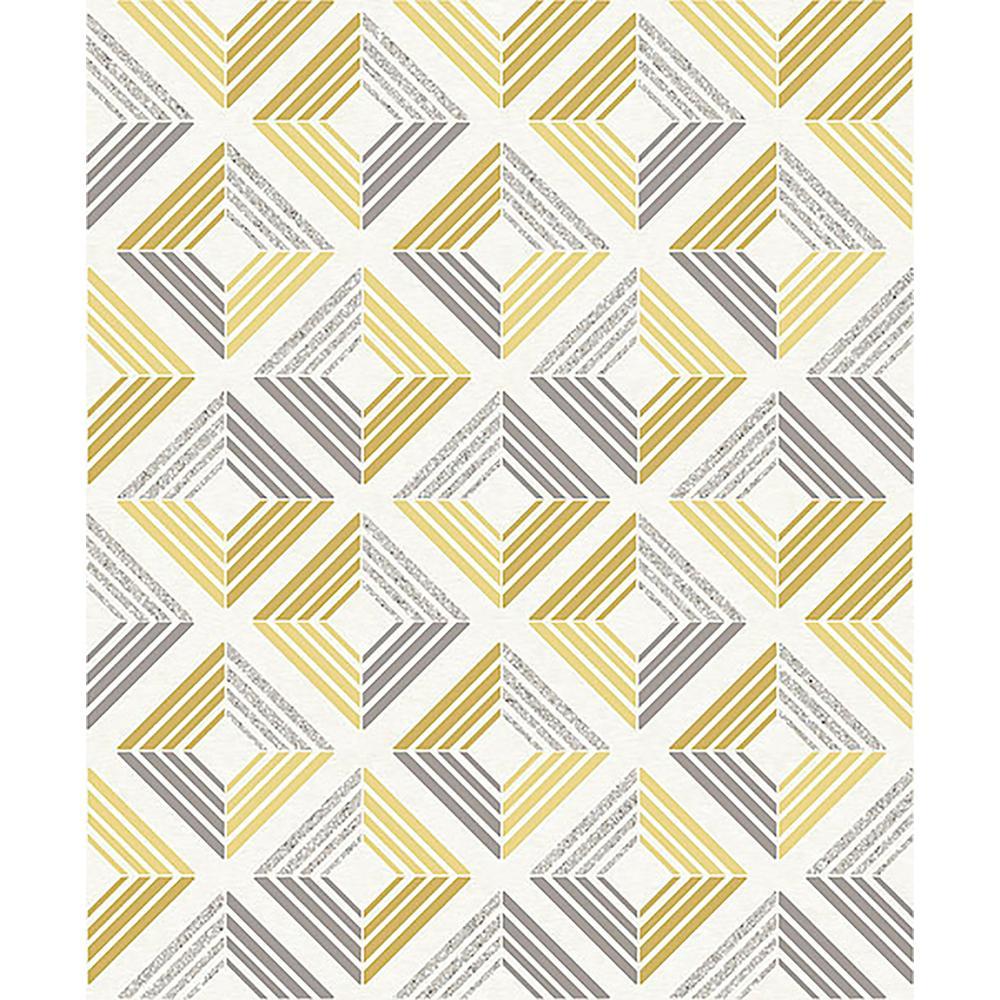 56.4 sq. ft. Echo Yellow Geometric Wallpaper