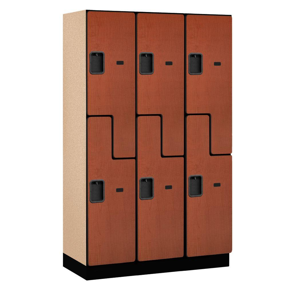 Salsbury Industries 27000 Series 2-Tier 'S-Style' Wood Extra Wide Designer Locker in Cherry - 15 in. W x 76 in. H x 18 in. D (Set of 3)