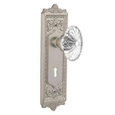 Egg and Dart Plate with Keyhole Single Dummy Oval Fluted Crystal Glass Door Knob in Satin Nickel