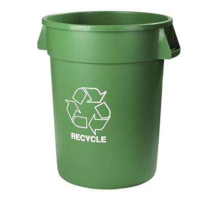 Bronco 32 Gal. Round Lidless Green Recycling Trash Can (4-Pack)