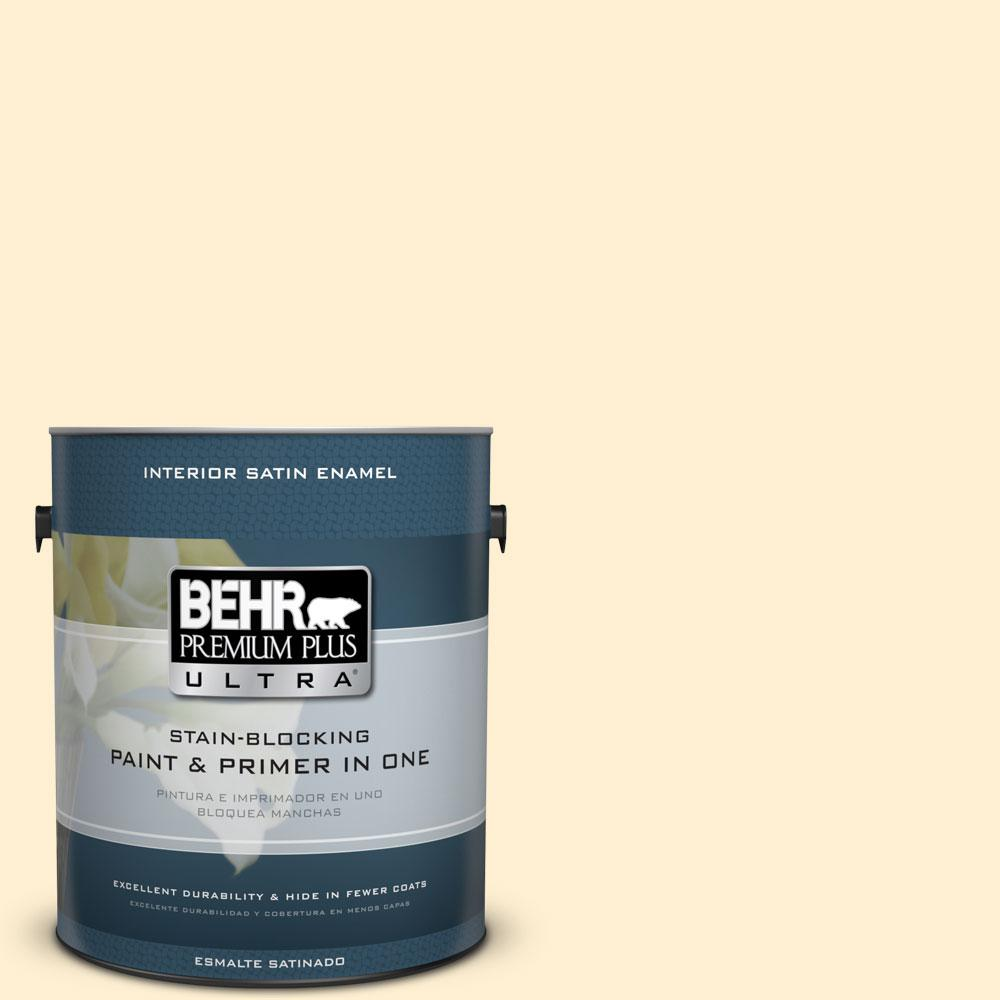 BEHR Premium Plus Ultra 1-gal. #330A-1 Bonnie Cream Satin Enamel Interior Paint