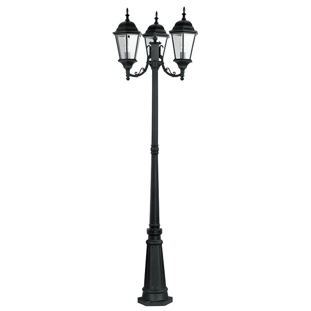 Providence 3-Light Outdoor Black Incandescent Post Light