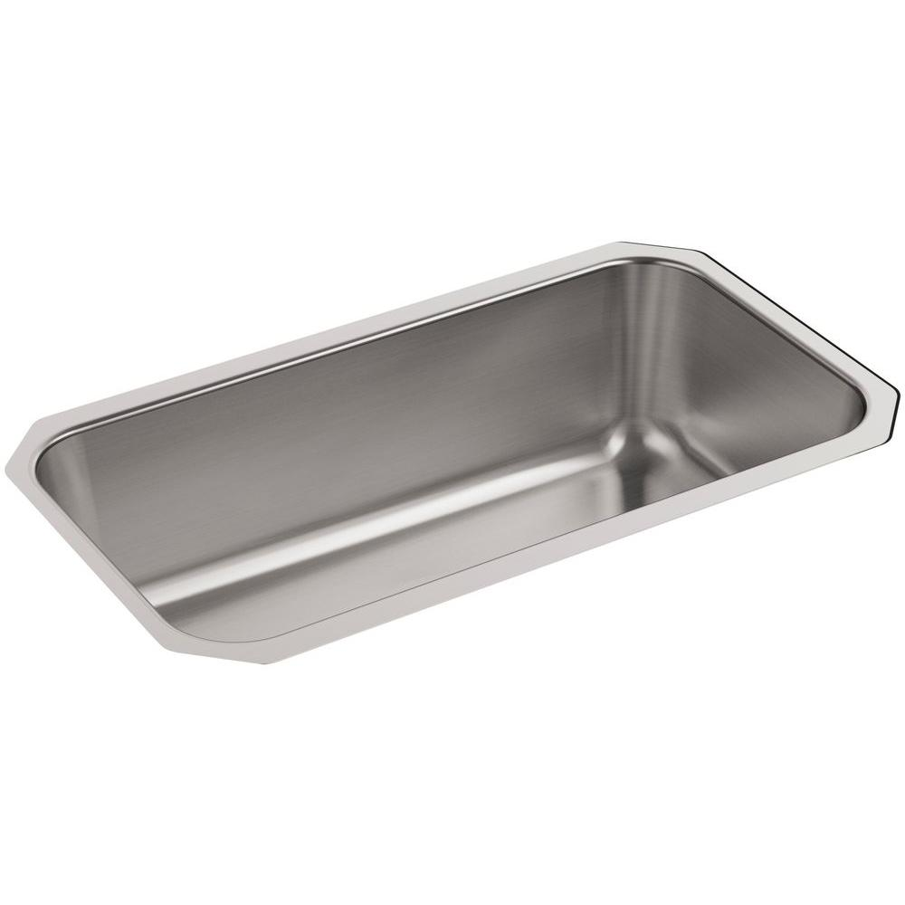 Undertone Undermount Stainless Steel 31 in. Single Bowl Kitchen Sink Kit