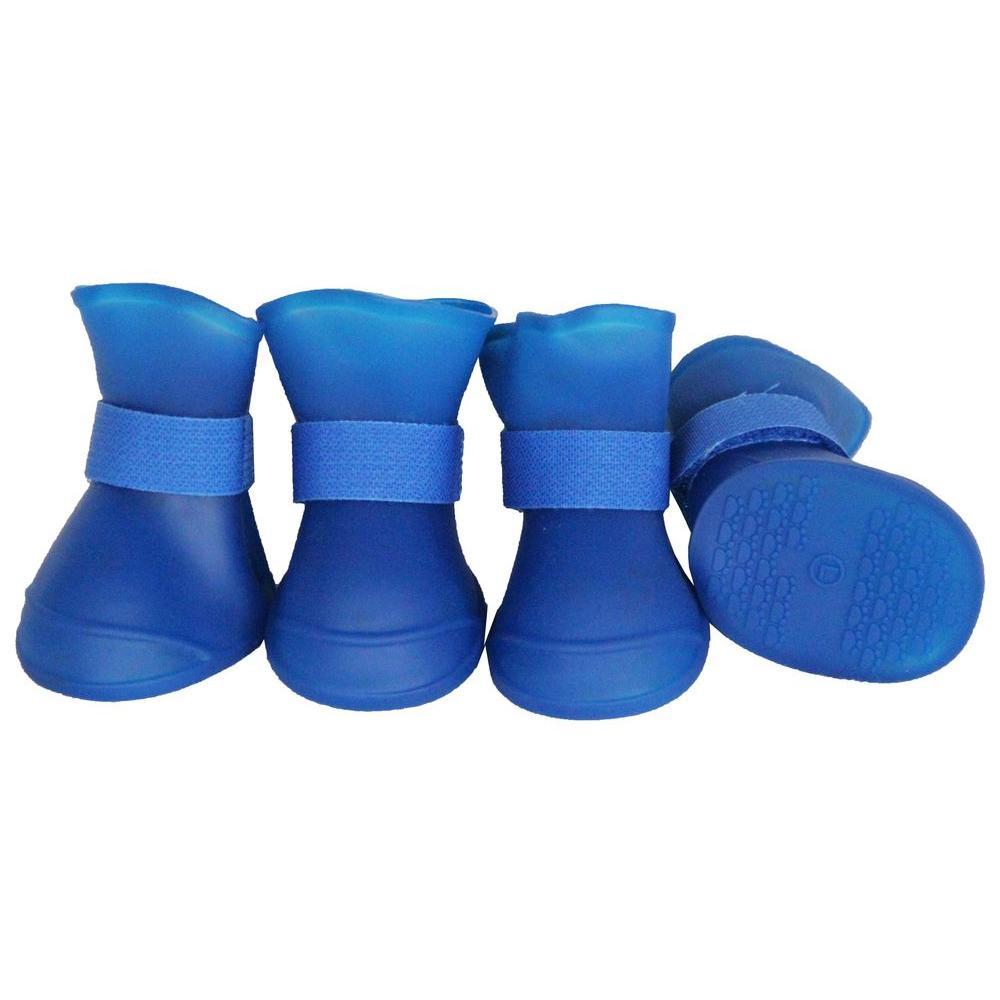 Medium Blue Elastic Protective Multi-Usage All-Terrain Rubberized Dog Shoes