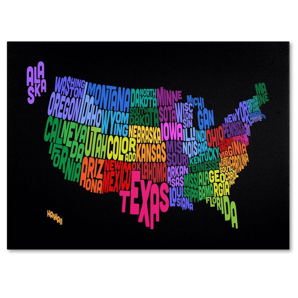 16 in. x 24 in. USA States Txt Map Canvas Art