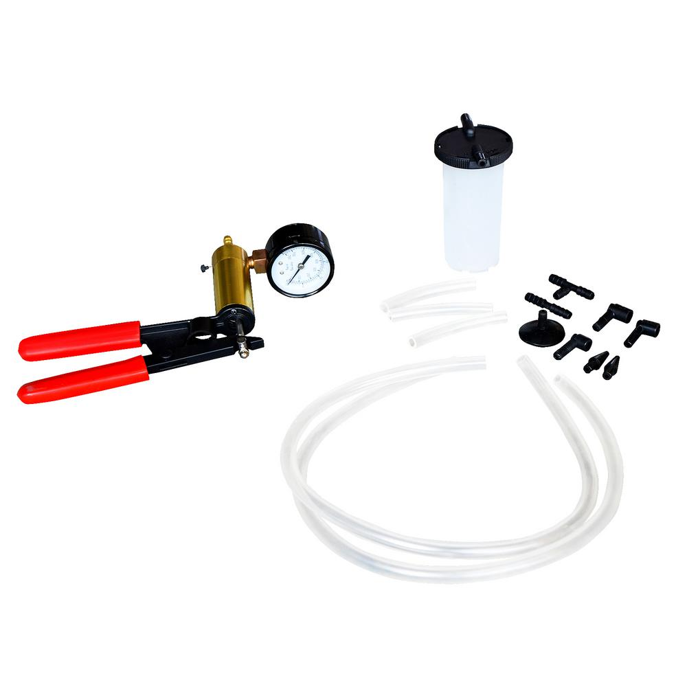 Steel Core Brake Bleeder and Vacuum Pump Kit (15-Piece)