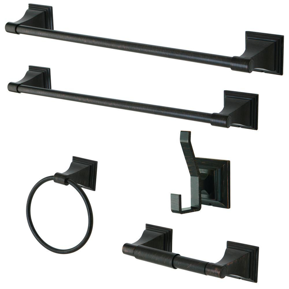 Kingston Brass 5 Piece Bathroom Accessory Set In Oil Rubbed Bronze
