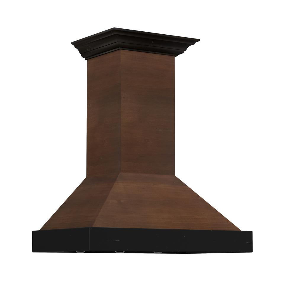 Zline Kitchen And Bath Zline 48 In. 760 Cfm Designer Series Wooden Wall Mount Range Hood, Solid Wood Exterior With Stainless Steel Insert/walnut Toned Body & Chimney/antigua Front Band