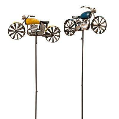 63 in. Motorcycle Yard Stakes with Wind Spinner Spokes (Pack of 2)