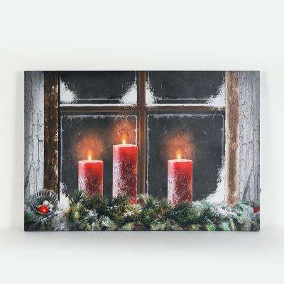 16 in. 3-Candles Canvas Print with LED Lights