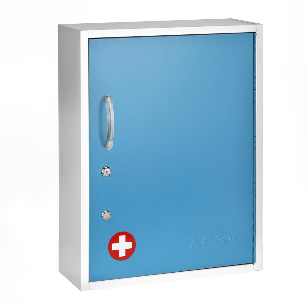 AdirMed 21 in. H x 16 in. W Dual Lock Surface-Mount Medical Security Cabinet in Blue with Pull-Out Shelf and Document Pocket