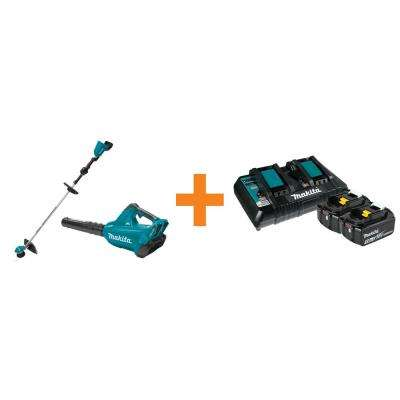 18-Volt X2 LXT Brushless Cordless String Trimmer with Bonus Leaf Blower 2 Batteries 5.0 Ah Dual Charger
