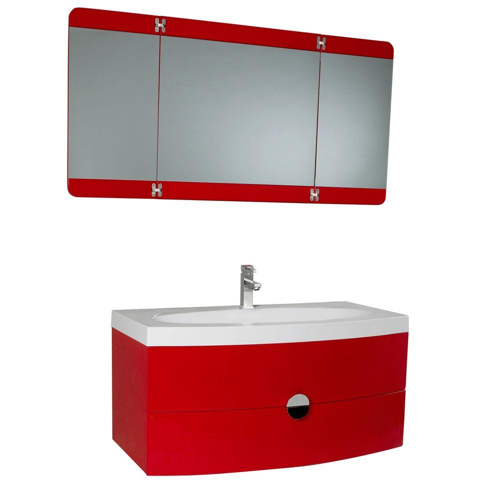 Fresca Energia 36 in. Vanity in Red with Acrylic Vanity Top in White and 3-Panel Folding Mirror