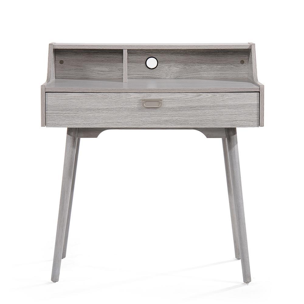 Ellison Mid-Century Modern Oak Gray Fiberboard Home Office Desk